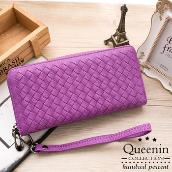 DF Queenin皮夾 - 個性女孩皮革編織款單拉鍊長夾