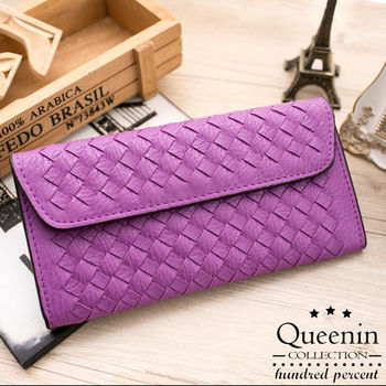 DF Queenin皮夾 - 個性女孩皮革編織款信封式長夾
