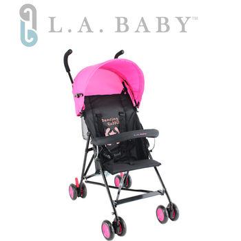 L.A. Baby 美國加州貝比 -亮彩輕便嬰兒手推車(桃紅黑色)