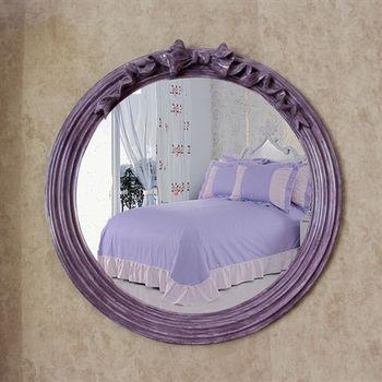 【協貿】復古簡約圓形紫色蝴蝶結裝飾壁掛鏡子