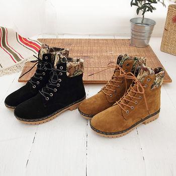 《DOOK》甜美泰迪 刺繡滾邊絨布高筒靴-兩色選
