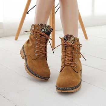 《DOOK》甜美泰迪 刺繡滾邊絨布高筒靴-棕色