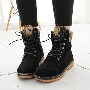 《DOOK》甜美泰迪 刺繡滾邊絨布高筒靴-黑色