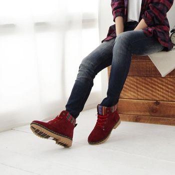 《DOOK》圖騰民族風 拼接絨布高筒靴-紅色