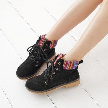 《DOOK》圖騰民族風 拼接絨布高筒靴-黑色