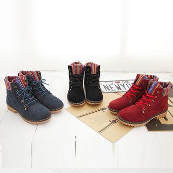 《DOOK》圖騰民族風 拼接絨布高筒靴-三色選