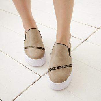 《DOOK》街頭韓風 斜拉鍊厚底平底鞋-米色
