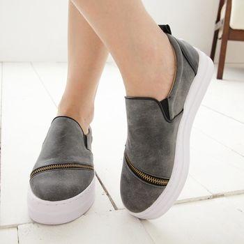 《DOOK》街頭韓風 斜拉鍊厚底平底鞋-灰色