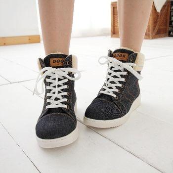 《DOOK》街頭學院風絨毛牛仔布高筒鞋-黑色