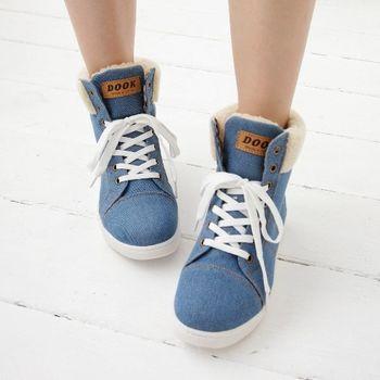 《DOOK》街頭學院風絨毛牛仔布高筒鞋-深藍