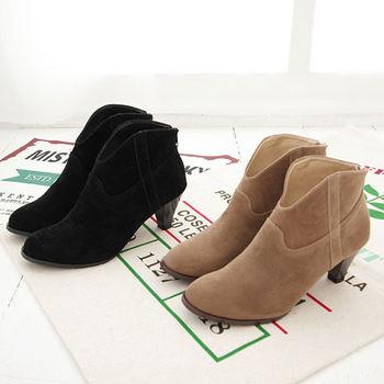 《DOOK》絨布魅惑深V低跟短靴
