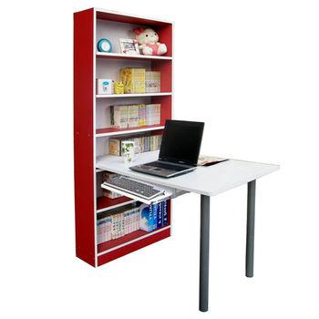 【Dr. DIY】80x120公分(寬)書櫃型書桌/電腦桌(含鍵盤抽)-紅白色