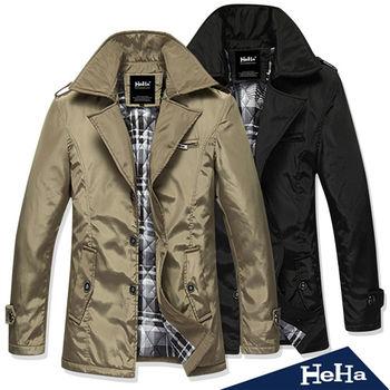 HeHa-英倫氣質型男舖棉風衣外套 二色