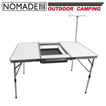 【NOMADE】諾曼得戶外露營便攜式折疊野餐燒烤桌(附雙頭桌燈柱)