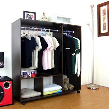 【頂堅】寬120公分-雙桿二格吊衣櫃/吊衣櫥(深胡桃木色)
