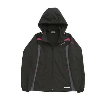 KAPPA義大利 女吸濕排汗速乾竹炭風衣外套(可拆帽) 黑 亮莓紫