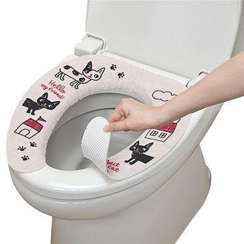 日本製造SANKO兒茶素抗菌防臭馬桶座墊貼(小花貓)