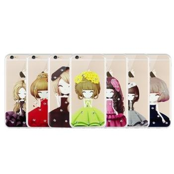 iPhone 6+/6s+ 軟殼套 TPU 立體貼鑽 卡通 美少女
