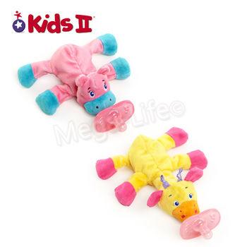 Kids II Soothing Solution-可愛動物安撫奶嘴布偶-粉 (隨機出貨)