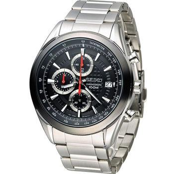 SEIKO 精工錶三眼計時錶 8T67-00A0D SSB201P1 黑x紅秒針