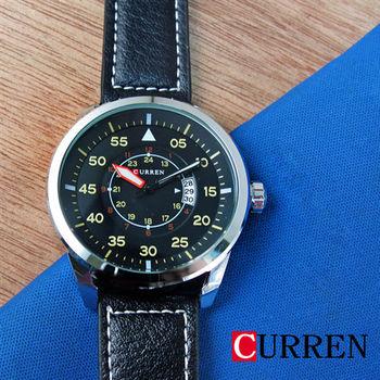 CURREN 數字時間圓圈日期皮革錶