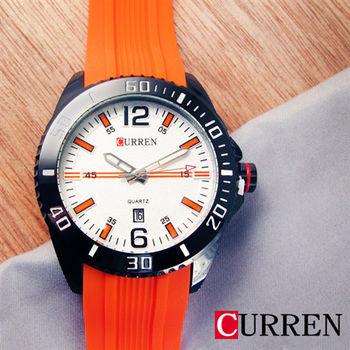 CURREN 時尚陽光日期矽膠錶