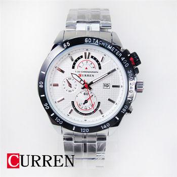 CURREN 潮流格紋假三眼日期鋼錶