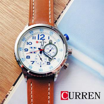 CURREN 質感假三眼縫線皮革錶