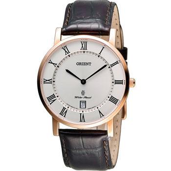 ORIENT 東方錶簡約時尚石英錶 FGW0100EW 白x玫瑰金色