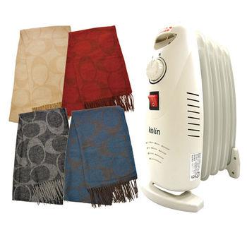 【COACH】名媛愛用質感經典c logo羊毛圍巾(黑色/藍色/紅色/米色)+歌林葉片式恆溫電暖器