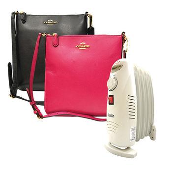 【COACH】 秋冬新款氣質經典立體 LOGO質感皮革斜背包(桃紅/黑)+歌林葉片式恆溫電暖器