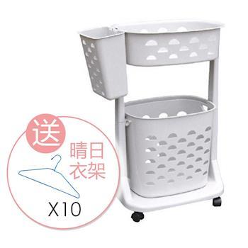 【SONA MALL】舒適雙層移動式洗衣籃 加送 台製晴日衣架15支