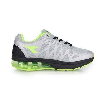 【DIADORA】男氣墊慢跑鞋-路跑 寬楦 淺灰螢光綠