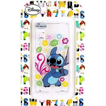 【Disney】Sony Xperia Z5 E6653 5.2吋 花朵系列 彩繪透明保護軟套-史迪奇