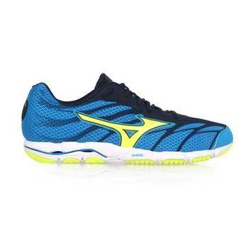【MIZUNO】WAVE HITOGAMI 3 男路跑鞋- 慢跑 美津濃 藍螢光綠