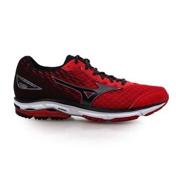 【MIZUNO】WAVE RIDER 19 男慢跑鞋-慢跑 路跑 美津濃 紅黑