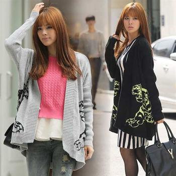 Pink東大門-老虎圖案針織外套(黑色)