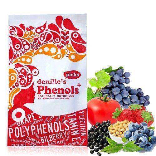 【denille's picks】綜合多酚靚美膠囊/黑豆/葡萄籽/草莓/山桑子/綠茶/番茄1包(60顆/包)