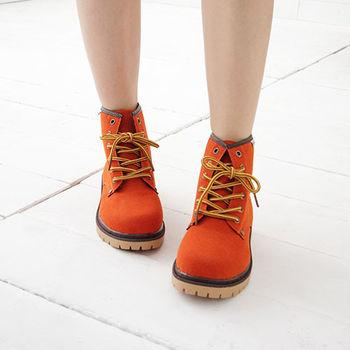 《DOOK》明色基本款仿麂皮高筒靴-橘色