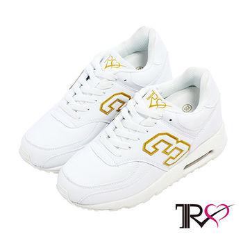 【TRS】熱門韓劇穿搭情侶款雙氣墊內增高休閒運動鞋 -9cm 白(5600-0075)