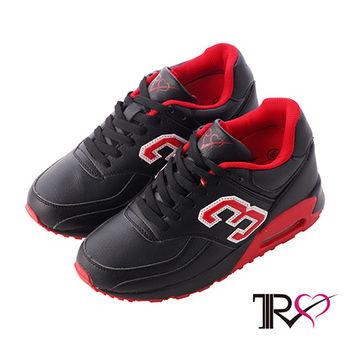 【TRS】熱門韓劇穿搭情侶款雙氣墊內增高休閒運動鞋 -9cm 黑(5600-0074)