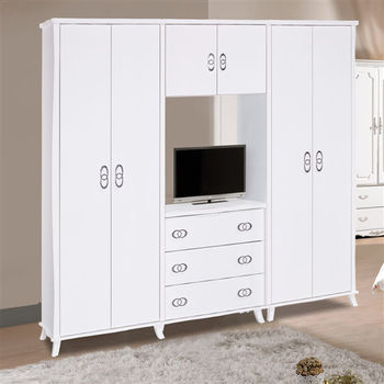 【時尚屋】[G16]艾蜜麗8尺亮烤白衣櫥G16-016-1