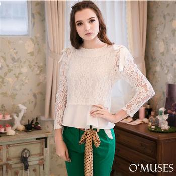 【OMUSES】蕾絲造型袖上衣12-6058S-XL)
