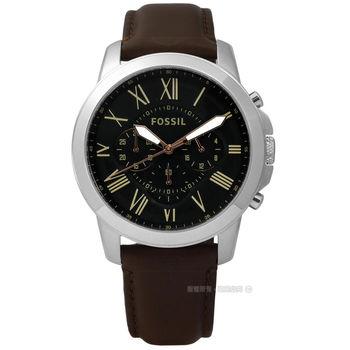 FOSSIL Grant 復古羅馬三環計時皮革腕錶-黑色 44mm / FS4813