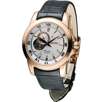SEIKO Premier 精工 尊品鏤空開芯機械腕錶 4R39-00L0G SSA278J1 玫瑰金色