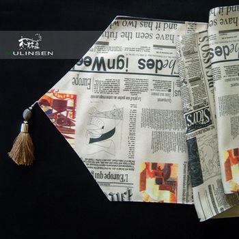 【協貿】時尚簡約百搭英文報紙帆布桌旗