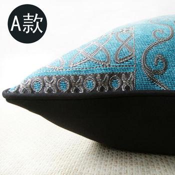 【協貿】新古典藍色幾何抽象地中海棉麻方形抱枕含芯
