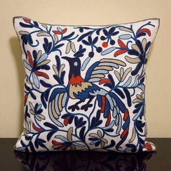 【協貿】時尚民族風棉麻鳳舞藍花紋刺繡方形抱枕含芯