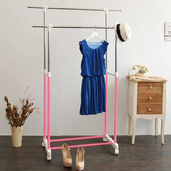 【ikloo】台製時尚雙桿延伸曬衣架
