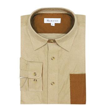 【MURANO】男款休閒撞色燈芯絨長袖襯衫 - 卡其 / 咖啡